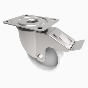 Medium Duty Castors with Top Plate Swivel with Brake White Polypropylene