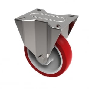 Medium Duty Top Plate Stainless Steel Fixed Castors Non Marking Red Polyurethane Nylon Centre