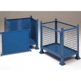 Mesh or Solid Steel Pallet Boxes with detachable front panel