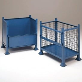 Mesh or Solid Steel Pallet Boxes with half drop front panel