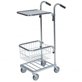 Mini Stock Trolley with 1 Mesh Basket & 1 Laminate Shelf Cap: 35kg