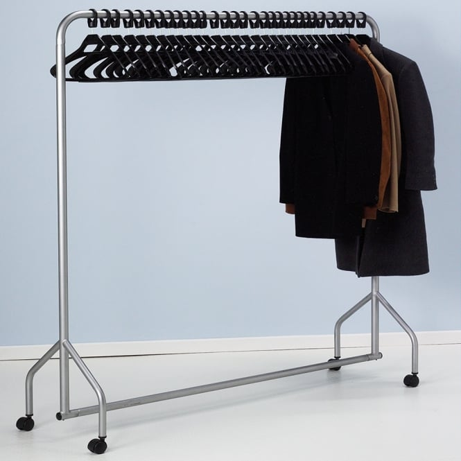 Mobile Garment Rail with Anti-theft Coat Hangers