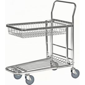 Nestable Stock Trolley with integral folding basket Cap: 300kg