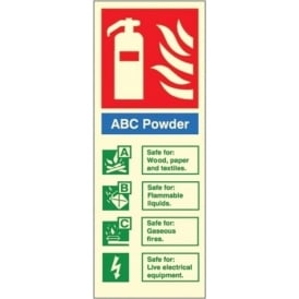 Photoluminescent - ABC Powder Fire Extinguisher ID Signs
