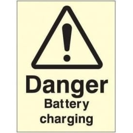 Photoluminescent - Danger Battery Charging Sign