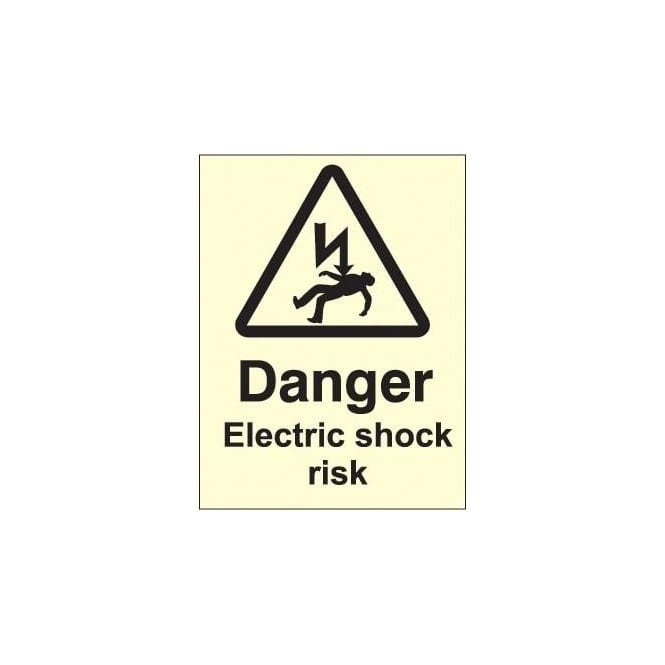 Photoluminescent - Danger Electric Shock Risk Sign