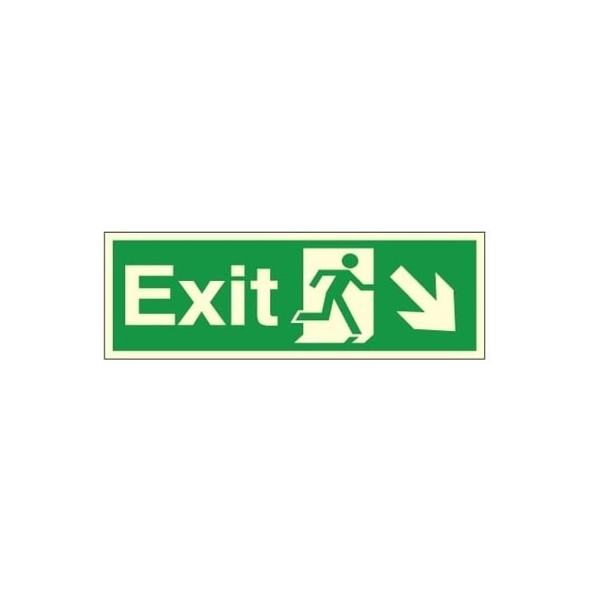 Photoluminescent - Exit - Arrow Down Right Signs