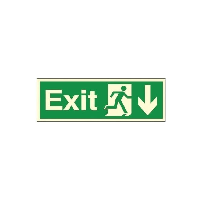 Photoluminescent - Exit - Arrow Down Signs