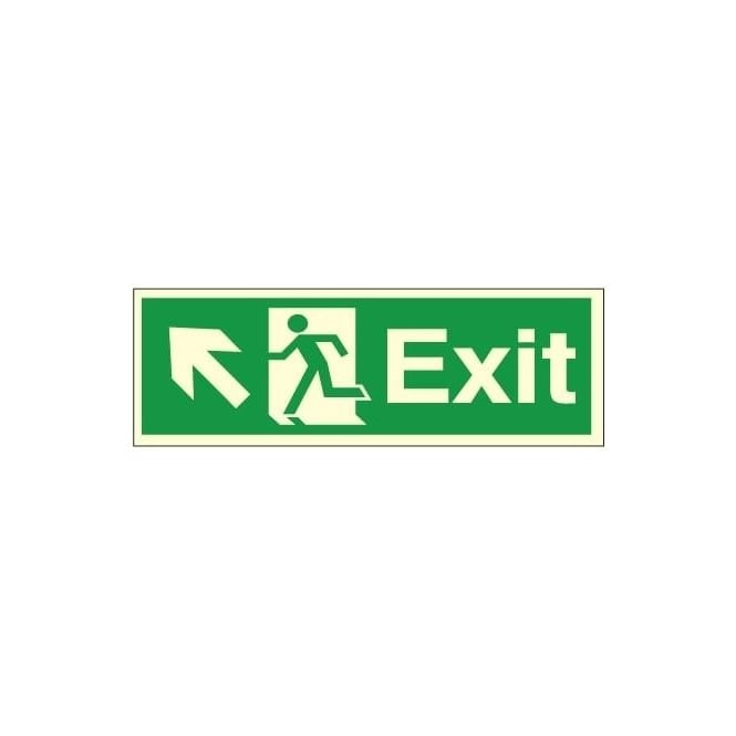 Photoluminescent - Exit - Arrow Up Left Signs