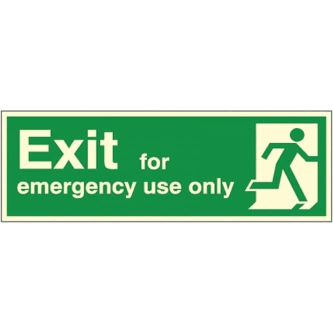Photoluminescent - Exit for emergency use only - man running Right Signs