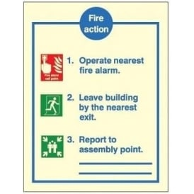 Photoluminescent - Fire Action Notice Steps 1 - 3