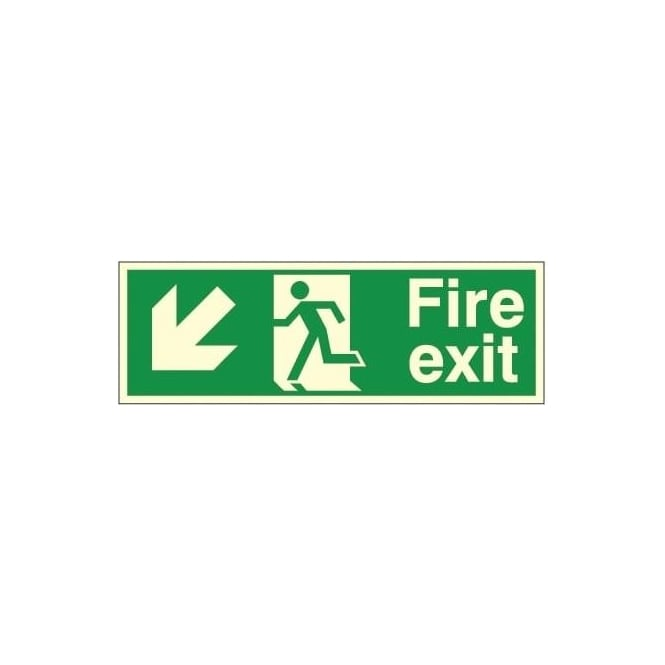 Photoluminescent - Fire exit - Arrow Down Left Signs