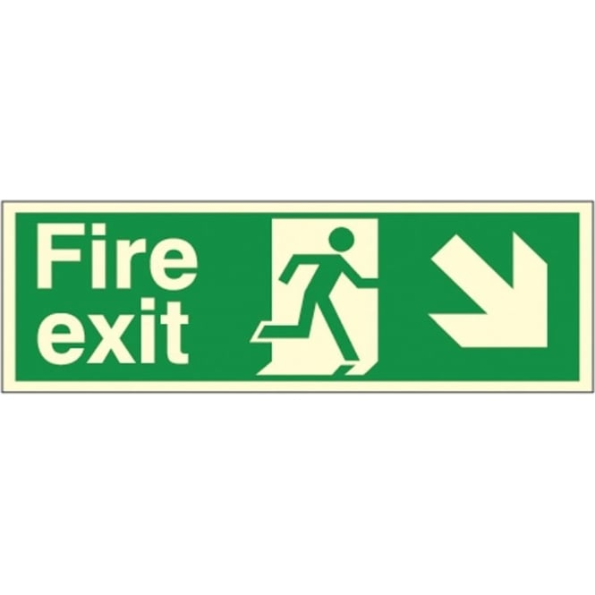 Photoluminescent - Fire exit Arrow Down Right Signs