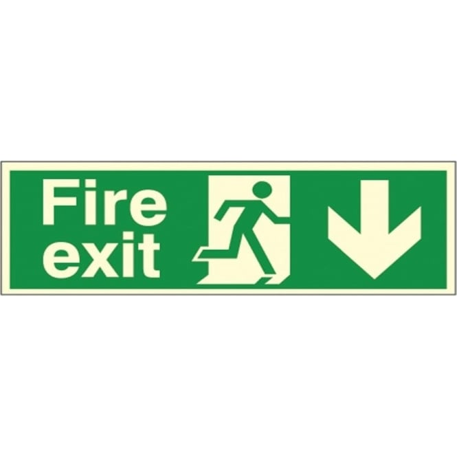 Photoluminescent - Fire exit - Arrow Down Signs