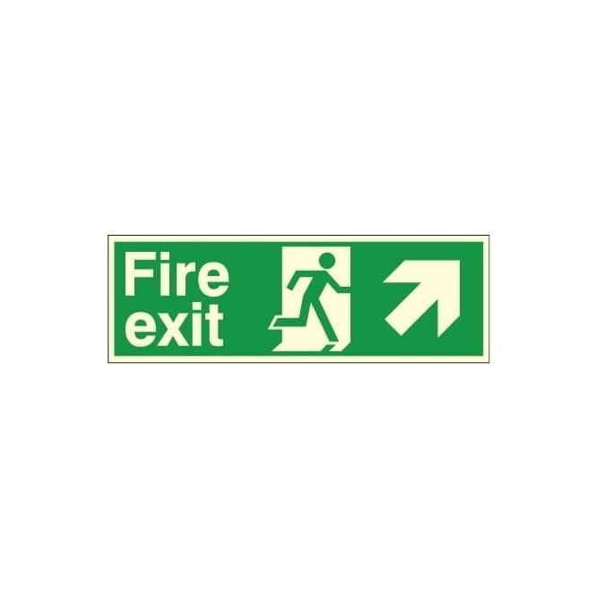 Photoluminescent - Fire exit - Arrow Up Right Signs