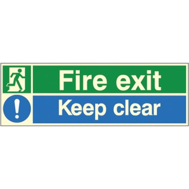 Photoluminescent - Fire exit / Keep clear Signs