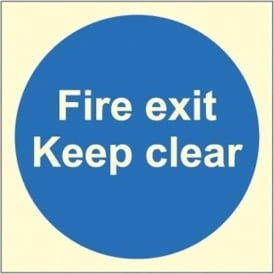 Photoluminescent - Fire exit keep clear Signs