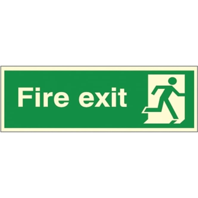 Photoluminescent - Fire exit - man running Right Signs
