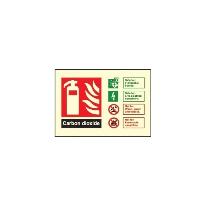 Photoluminescent - Fire Extinguisher Identification Sign - Carbon Dioxide
