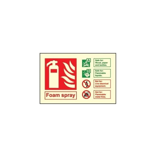 Photoluminescent - Fire Extinguisher Identification Sign - Foam Spray