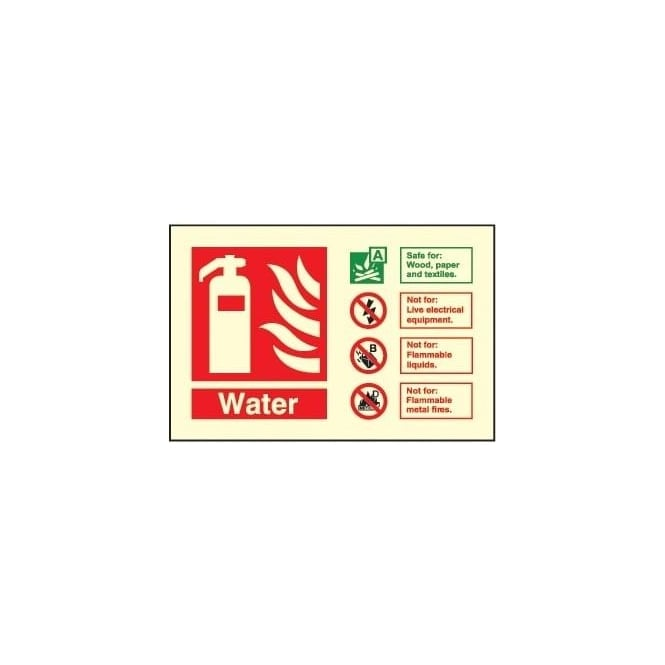 Photoluminescent - Fire Extinguisher Identification Sign - Water