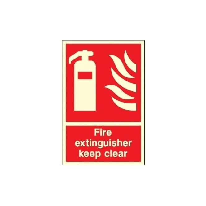 Photoluminescent - Fire Extinguisher keep clear Sign