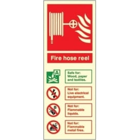 Photoluminescent - Fire Hose Reel Fire Extinguisher ID Signs