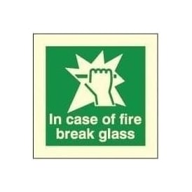Photoluminescent - In case of fire break glass signs