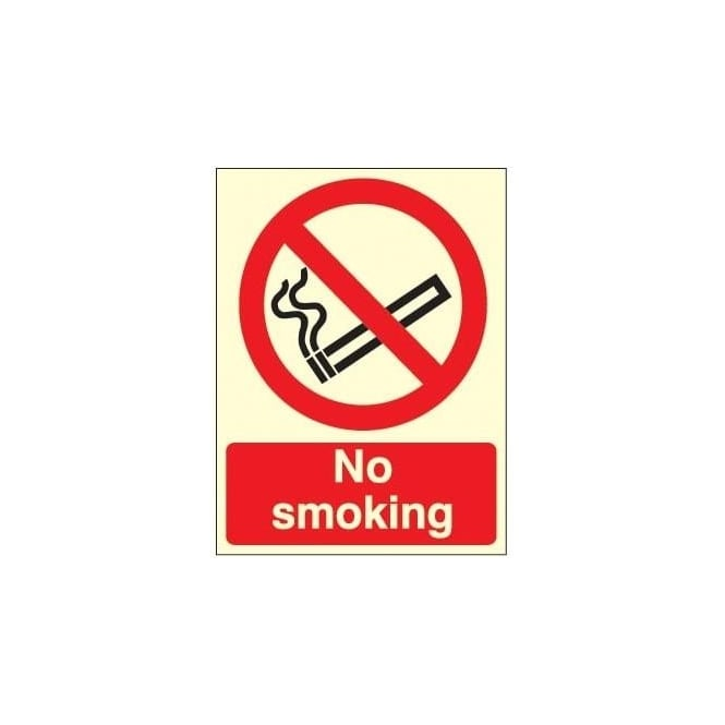 Photoluminescent - No Smoking sign