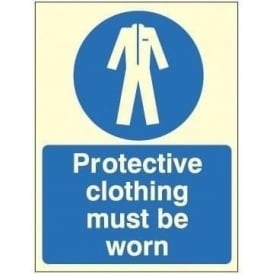 Photoluminescent - Protective clothing must be worn sign