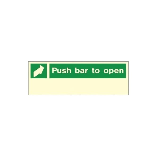 Photoluminescent - Push Bar to Open Signs