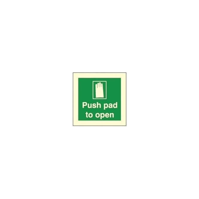 Photoluminescent - Push pad to open Signs