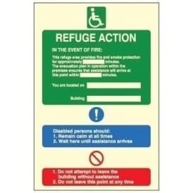 Photoluminescent - Refuge Action Signs