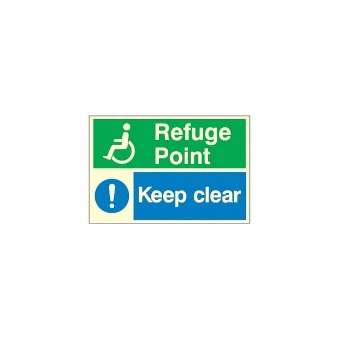 Photoluminescent - Refuge Point / Keep Clear Signs