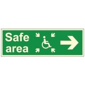 Photoluminescent - Safe Area - Arrow Right Signs