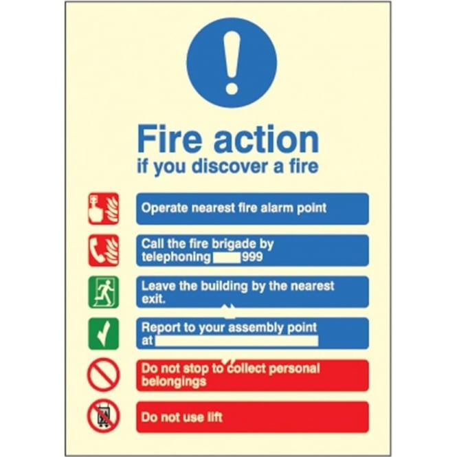 Photoluminescent Signs - Fire Action Sign