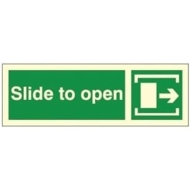 Photoluminescent - Slide to Open (Right) Signs