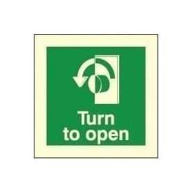 Photoluminescent - Turn to open (Left) Signs