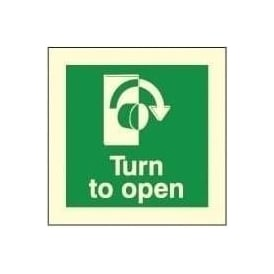 Photoluminescent - Turn to open (Right) Signs