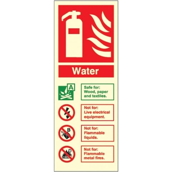 Photoluminescent - Water Fire Extinguisher ID Signs