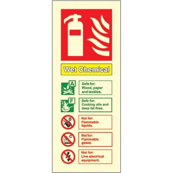 Photoluminescent - Wet Chemical Fire Extinguisher ID Signs