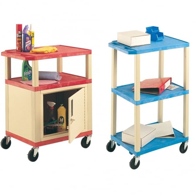 Plastic Shelf Trolleys with or without cabinet Cap: 90kg