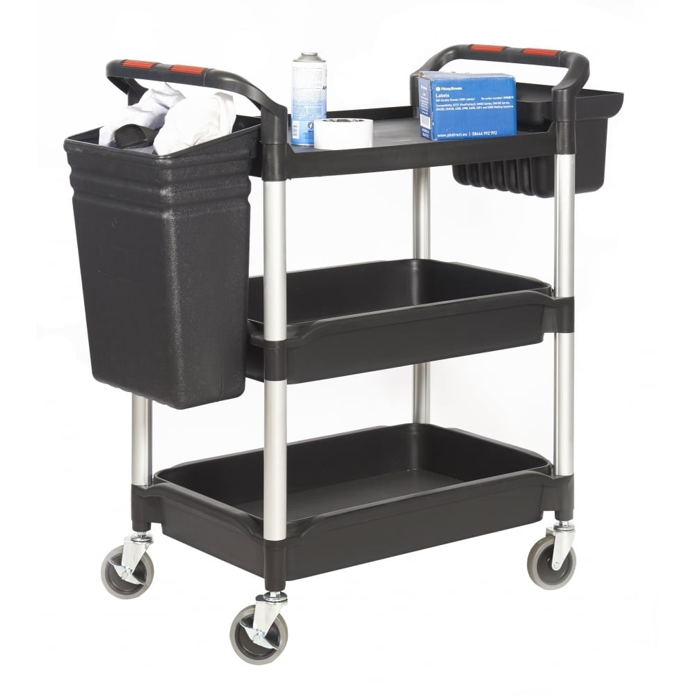 Parrs Plastic Tray Trolley With 1 Shelf 2 Deep Trays Cap 150kg