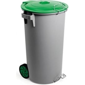 Plastic Wheelie Waste Bin with Hinged Lid Cap: 80lt