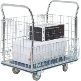 Platform Truck with chrome plated hinged mesh sides Cap: 300kg