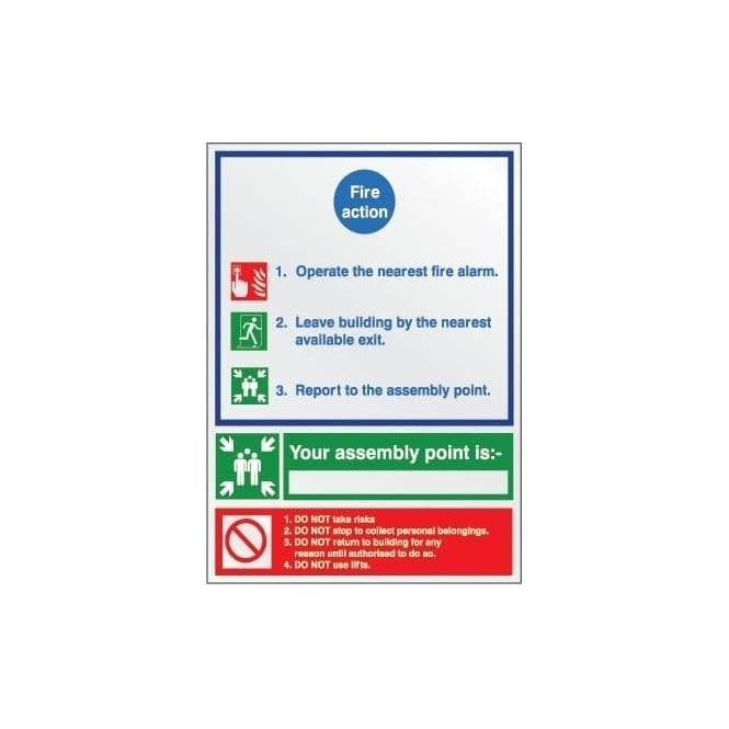 Prestige Fire Extinguisher Identification Sign: Fire Action Notice