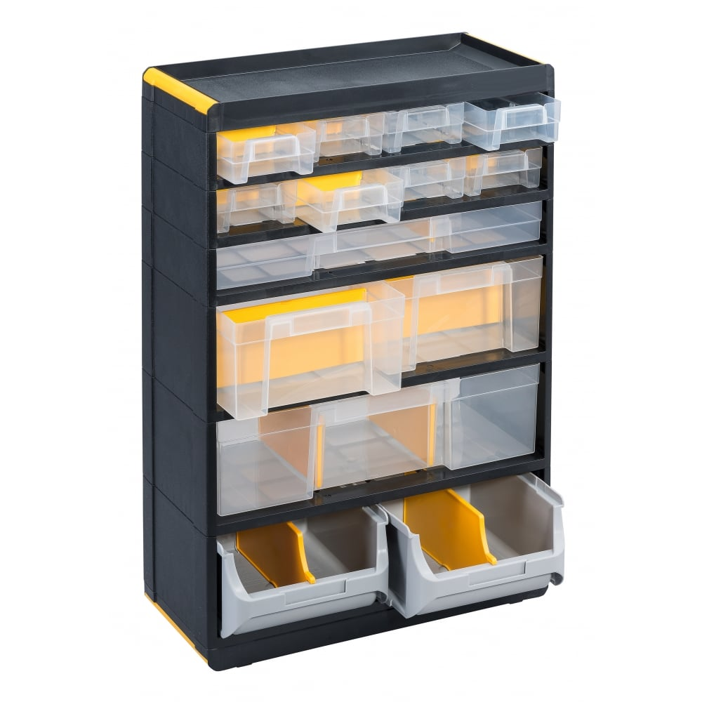 Professional Plus Plastic Visible Multi Drawer Storage Cabinets Pack of 2