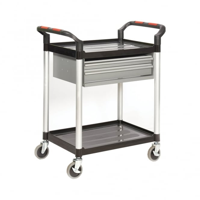 Proplaz Plastic Shelf Trolley - 2 Shelves & 2 Drawers Cap: 100kg
