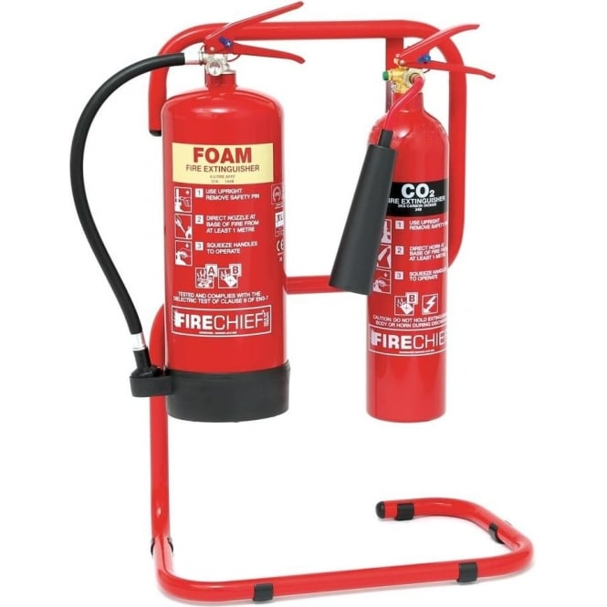 Red & Chrome Tubular Steel Fire Extinguisher Stands