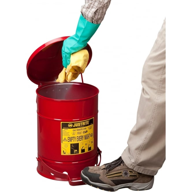 Red Safety Steel Oily Waste Cans for Rags & Wipes